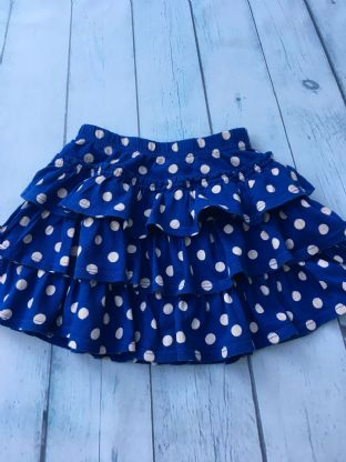 Mini Boden tiered blue polka cot skirt age 2-3